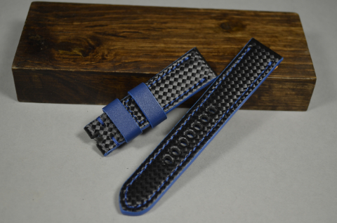 130 CARBON BLUE 22-20 130-80 MM is one of our hand crafted watch straps. Available in blue color, 4 - 4.5 mm thick.