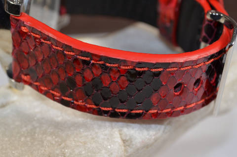 RED SHINY is one of our hand crafted watch straps. Available in red color, 4 - 4.5 mm thick.