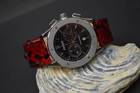 RED SHINY II is one of our hand crafted watch straps. Available in red color, 4 - 4.5 mm thick.