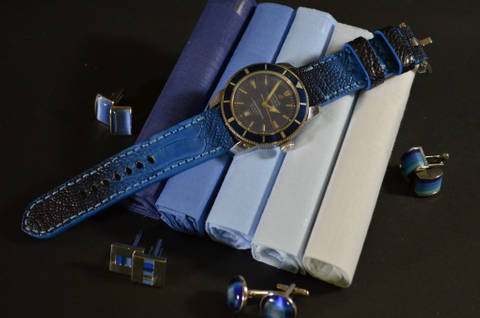 BLUE FANTASY MATTE is one of our hand crafted watch straps. Available in blue fantasy color, 4 - 4.5 mm thick.