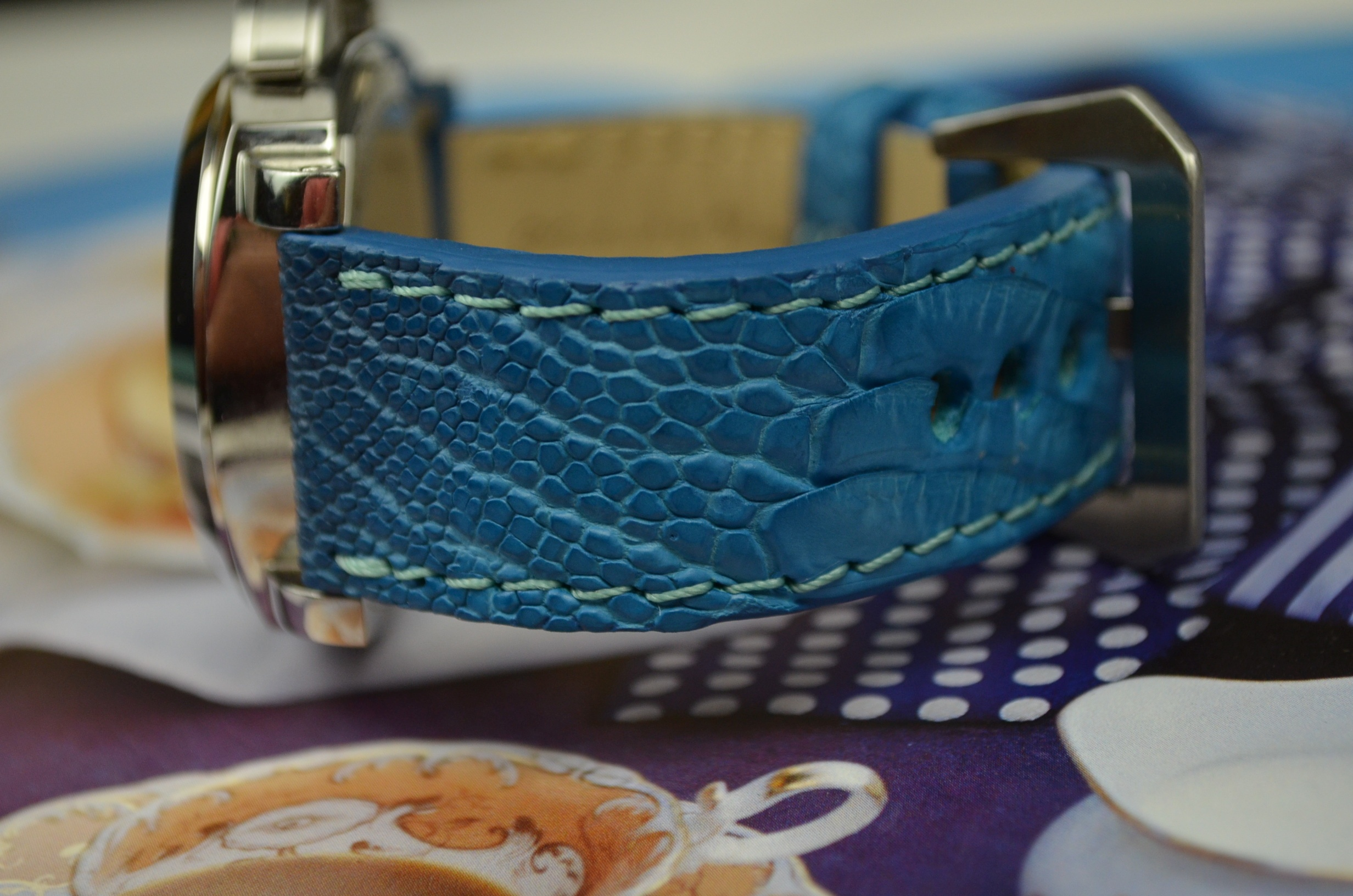 LIGHT BLUE MATTE is one of our hand crafted watch straps. Available in light blue fantasy color, 4 - 4.5 mm thick.