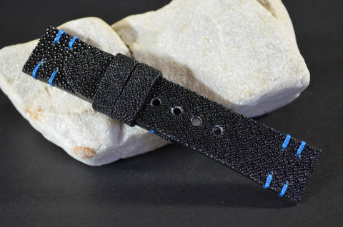 BLUE is one of our hand crafted watch straps. Available in blue color, 3.5 - 4 mm thick.