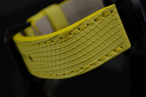 YELLOW MATTE is one of our hand crafted watch straps. Available in yellow color, 3.5 - 4 mm thick.