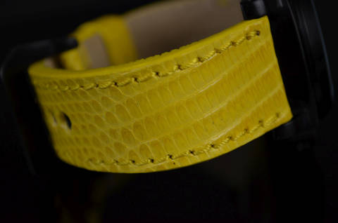 YELLOW SHINY is one of our hand crafted watch straps. Available in yellow color, 3.5 - 4 mm thick.