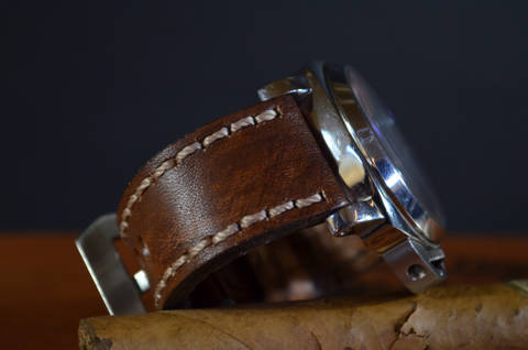 NEW BROWN III is one of our hand crafted watch straps. Available in oil brown color, 4 - 4.5 mm thick.