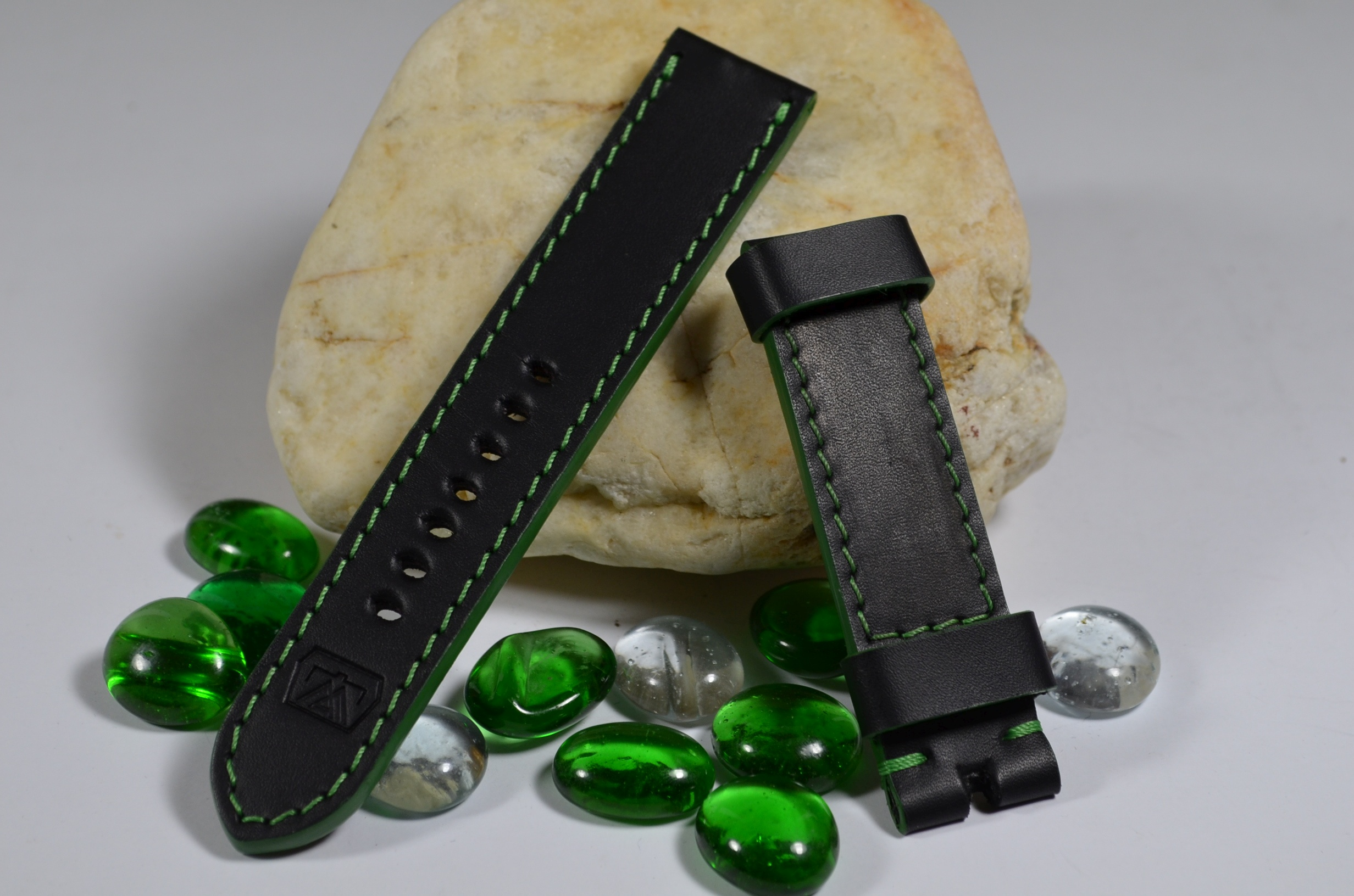 GREEN is one of our hand crafted watch straps. Available in green color, 3.5 - 4 mm thick.