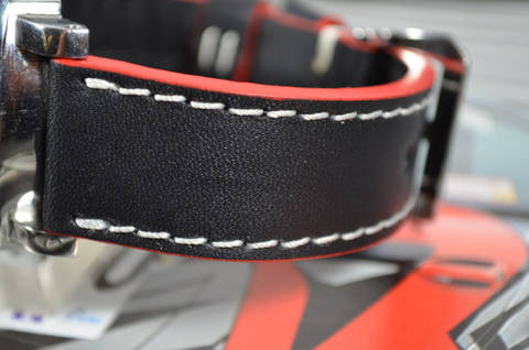 RED WHITE is one of our hand crafted watch straps. Available in red white color, 3.5 - 4 mm thick.