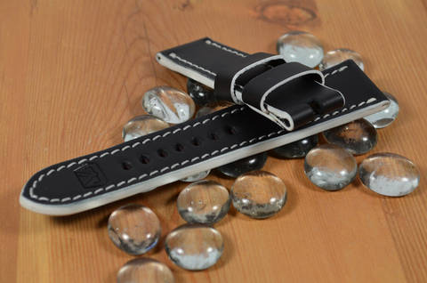 WHITE is one of our hand crafted watch straps. Available in white color, 3.5 - 4 mm thick.