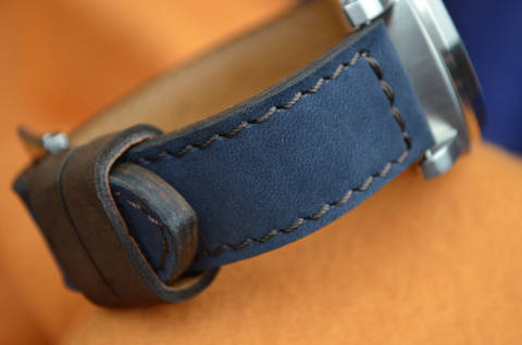 BLUE BROWN is one of our hand crafted watch straps. Available in blue brown color, 3.5 - 4 mm thick.