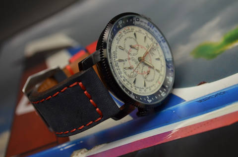 BLUE RED is one of our hand crafted watch straps. Available in blue red color, 3.5 - 4 mm thick.