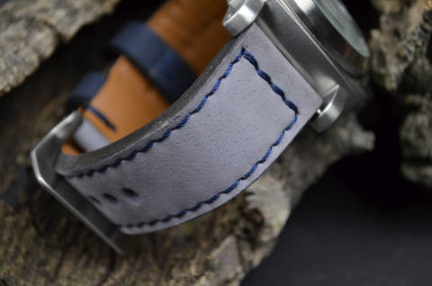 GREY BLUE is one of our hand crafted watch straps. Available in grey blue color, 3.5 - 4 mm thick.