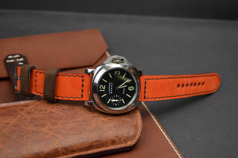 ORANGE BROWN is one of our hand crafted watch straps. Available in orange brown color, 3.5 - 4 mm thick.