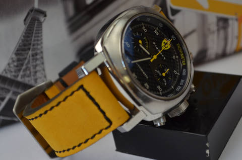 YELLOW BLACK is one of our hand crafted watch straps. Available in yellow black color, 3.5 - 4 mm thick.