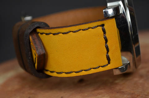 YELLOW BROWN is one of our hand crafted watch straps. Available in yellow brown color, 3.5 - 4 mm thick.