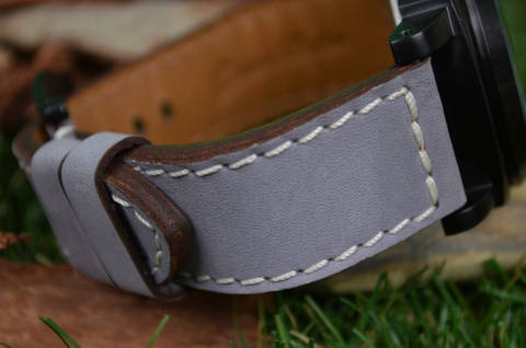 II GREY is one of our hand crafted watch straps. Available in grey color, 3.5 - 4 mm thick.