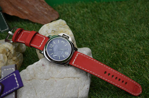 II RED is one of our hand crafted watch straps. Available in red color, 3.5 - 4 mm thick.