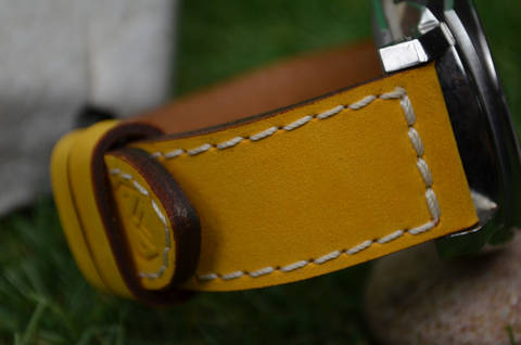 II YELLOW is one of our hand crafted watch straps. Available in yellow color, 3.5 - 4 mm thick.