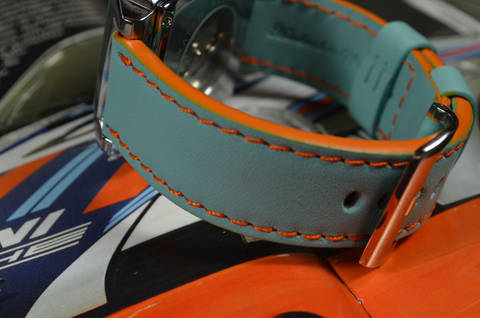 BLUE is one of our hand crafted watch straps. Available in gulf blue color, 3.5 - 4 mm thick.