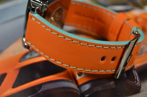 ORANGE is one of our hand crafted watch straps. Available in gulf orange color, 3.5 - 4 mm thick.