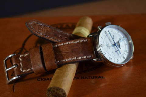 NEW BROWN III is one of our hand crafted watch straps. Available in oil brown color, 3 - 3.5 mm thick.