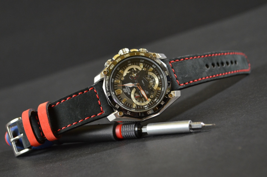 BLACK DEVIL is one of our hand crafted watch straps. Available in black red color, 3 - 3.5 mm thick.