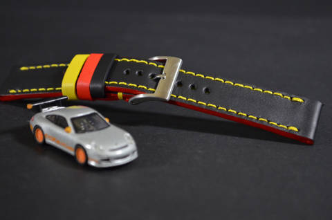 FLAG GERMANY is one of our hand crafted watch straps. Available in flag germany color, 3 - 3.5 mm thick.