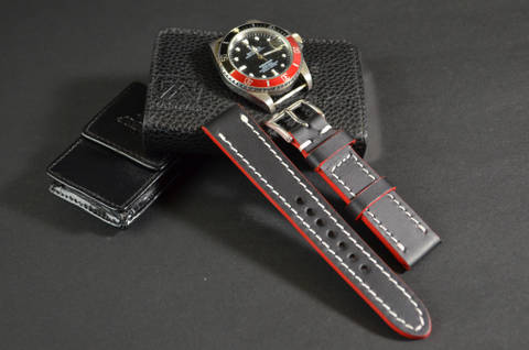 RED WHITE is one of our hand crafted watch straps. Available in red white color, 3 - 3.5 mm thick.