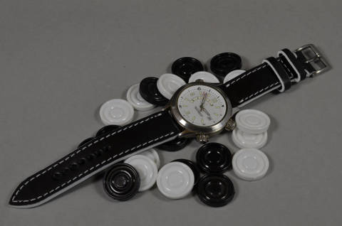 WHITE is one of our hand crafted watch straps. Available in white color, 3 - 3.5 mm thick.