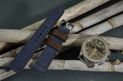 BLUE BROWN is one of our hand crafted watch straps. Available in blue brown color, 3 - 3.5 mm thick.