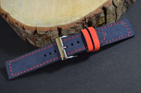 BLUE RED is one of our hand crafted watch straps. Available in blue red color, 3 - 3.5 mm thick.