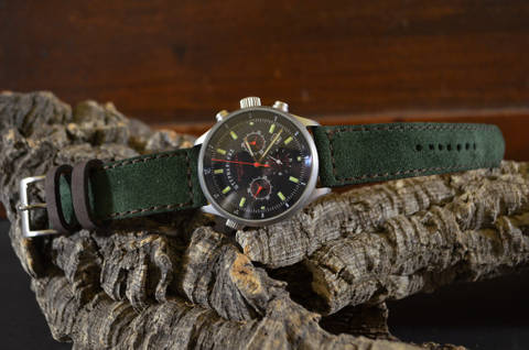 GREEN BROWN is one of our hand crafted watch straps. Available in green brown color, 3 - 3.5 mm thick.