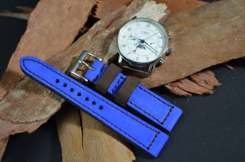NAVY BLUE BROWN is one of our hand crafted watch straps. Available in navy blue brown color, 3 - 3.5 mm thick.