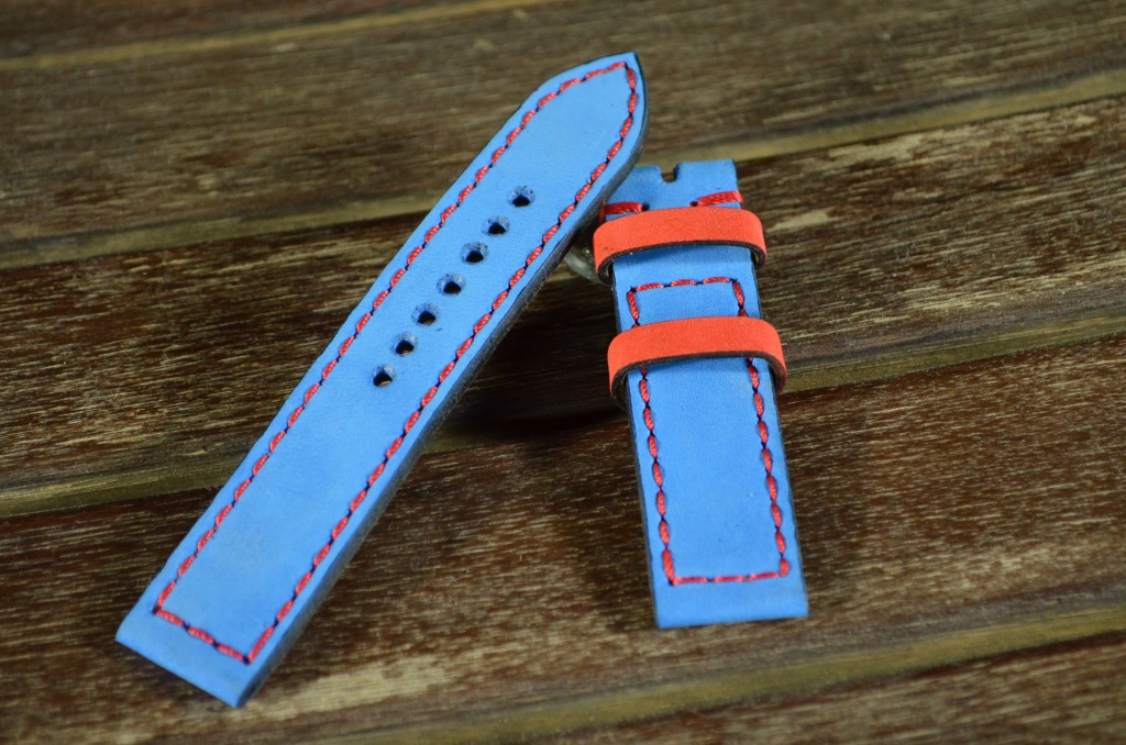 NAVY BLUE RED is one of our hand crafted watch straps. Available in navy blue red color, 3 - 3.5 mm thick.