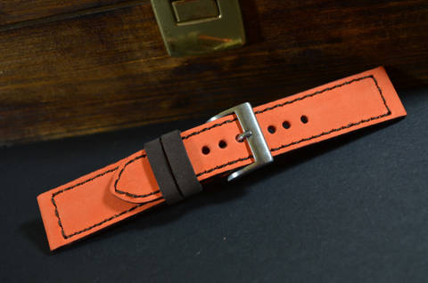 ORANGE BROWN is one of our hand crafted watch straps. Available in orange brown color, 3 - 3.5 mm thick.