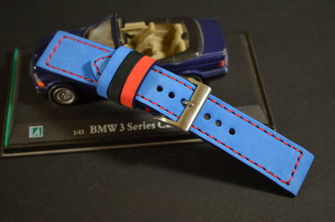 BMW II is one of our hand crafted watch straps. Available in bmw color, 3 - 3.5 mm thick.