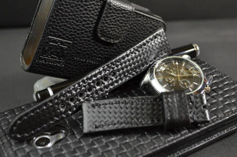 BLACK is one of our hand crafted watch straps. Available in black color, 3 - 3.5 mm thick.