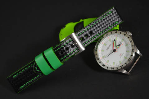 GREEN is one of our hand crafted watch straps. Available in green color, 3 - 3.5 mm thick.
