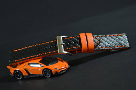 ORANGE is one of our hand crafted watch straps. Available in orange color, 3 - 3.5 mm thick.
