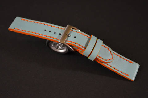 BLUE is one of our hand crafted watch straps. Available in gulf blue color, 3 - 3.5 mm thick.