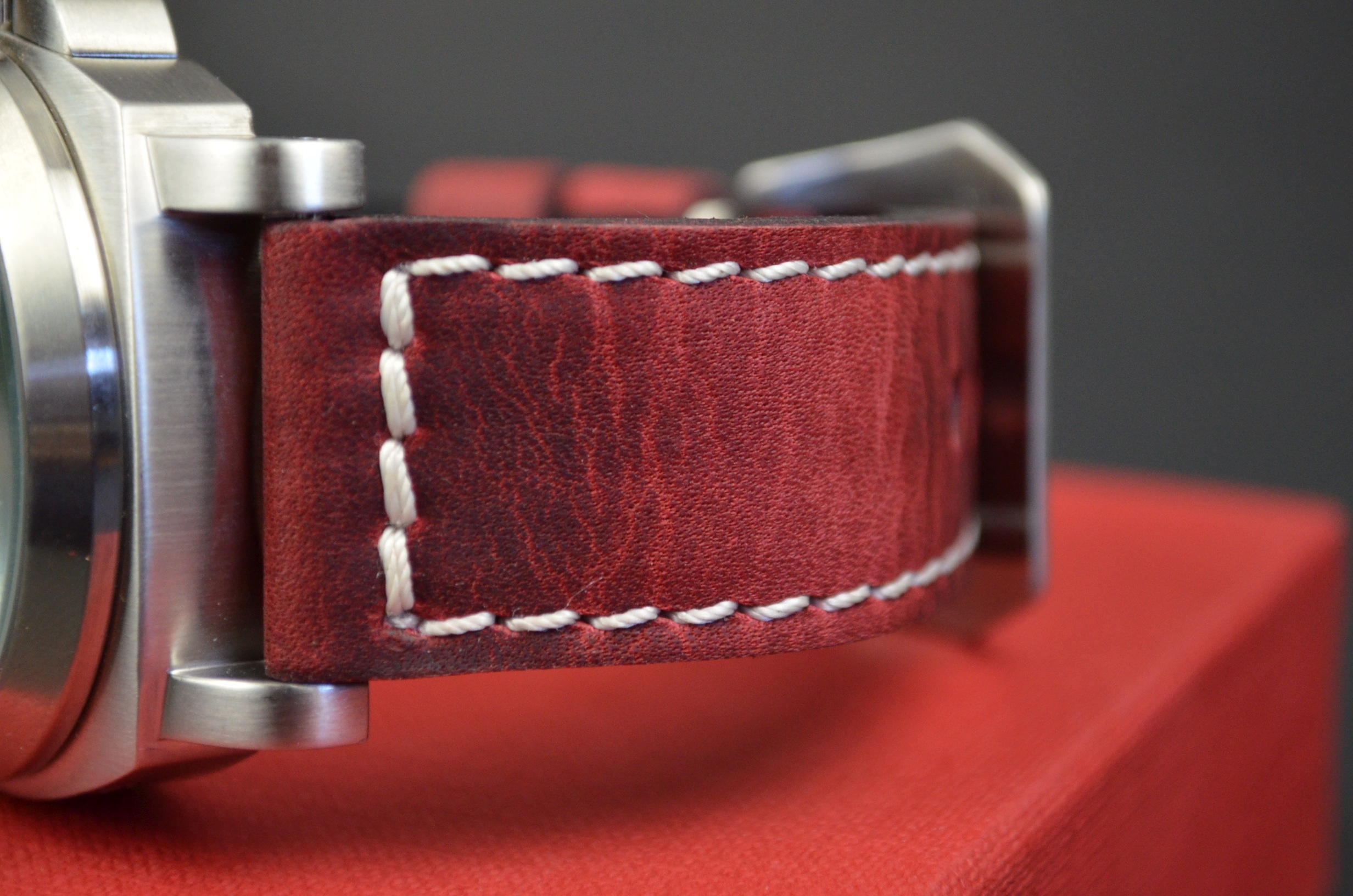 RED II is one of our hand crafted watch straps. Available in red color, 3.5 - 4 mm thick.