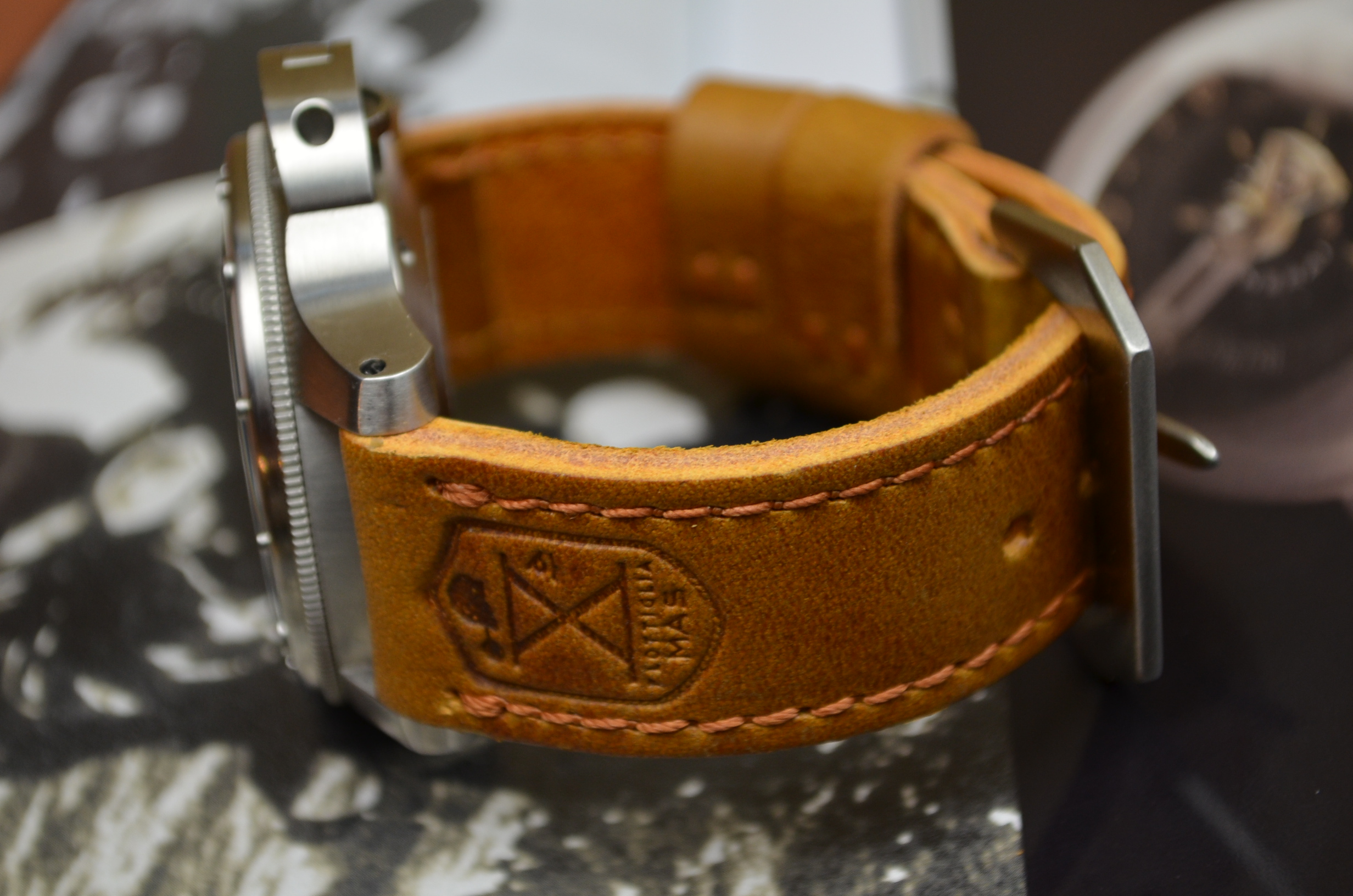 II is one of our hand crafted watch straps. Available in brown color, 4 - 4.5 mm thick.