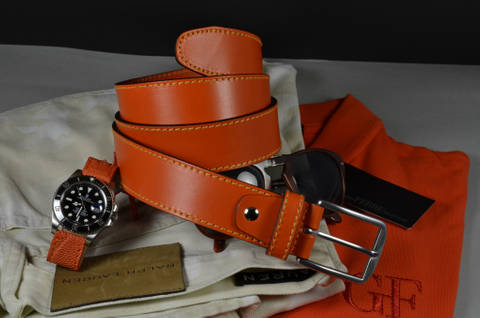 35MM CALF CLASSIC ORANGE is one of our hand crafted belts, made with exceptional quality calf saddle leather. Available in orange color, 35 mm wide & 4 - 4.5 mm thick.
