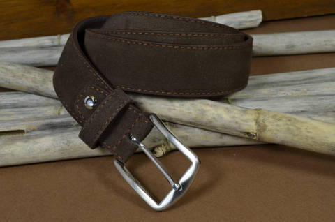 35MM NUBUK BROWN is one of our hand crafted belts, made with exceptional quality calf nubuk leather. Available in brown color, 35 mm wide & 4 - 4.5 mm thick.
