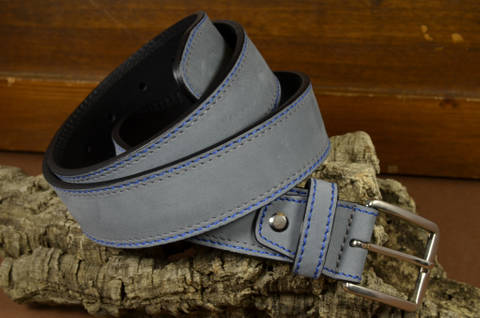 35MM NUBUK GREY is one of our hand crafted belts, made with exceptional quality calf nubuk leather. Available in grey color, 35 mm wide & 4 - 4.5 mm thick.