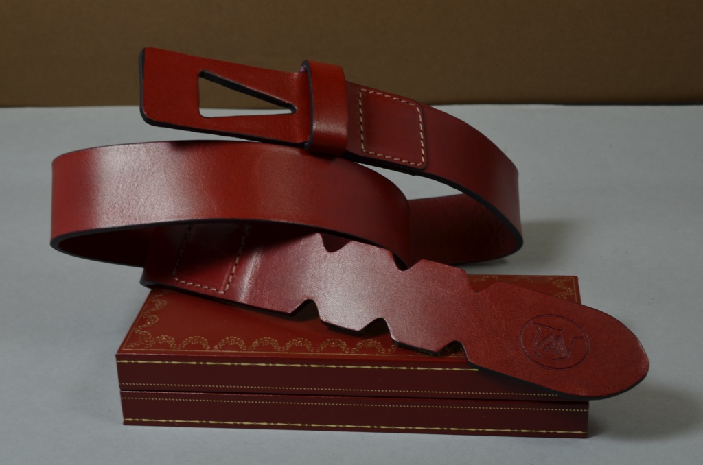35MM CALF DESIGN ARROW RED is one of our hand crafted belts, made with exceptional quality calf saddle leather. Available in red color, 35 mm wide & 4 - 4.5 mm thick.