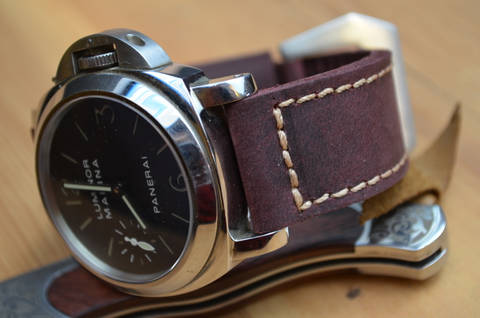 BURGUNDY II is one of our hand crafted watch straps. Available in burgundy color, 4 - 4.5 mm thick.