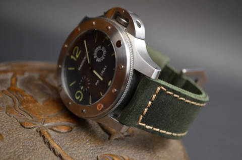 GREEN II is one of our hand crafted watch straps. Available in green color, 4 - 4.5 mm thick.