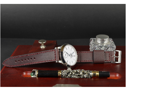 BURGUNDY I is one of our hand crafted watch straps. Available in burgundy color, 3 - 3.5 mm thick.