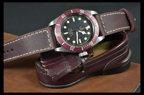 BURGUNDY II is one of our hand crafted watch straps. Available in burgundy color, 3 - 3.5 mm thick.