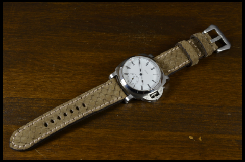 BEIGE NUBUK is one of our hand crafted watch straps. Available in beige color, 4 - 4.5 mm thick.